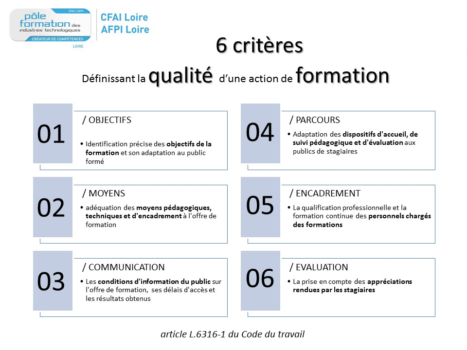 6 criteres qualite formation continue