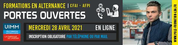 Portes Ouvertes Virtuelles sur RDV Mercredi 28 Avril 2021